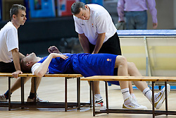 Gasper Suhadolnik, Uros Slokar and physiotherapist Teo Djekic  at practice of Slovenian National Basketball team in Arena Torwar two days before the beginning of the Eurobasket 2009, on September 05, 2009 in Warsaw, Poland. (Photo by Vid Ponikvar / Sportida)