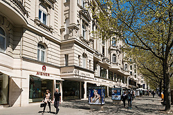 Traditional architecture of designer shops on famous Kurfurstendamm, Kudamm, shopping street in Charlottenburg, Berlin Germany