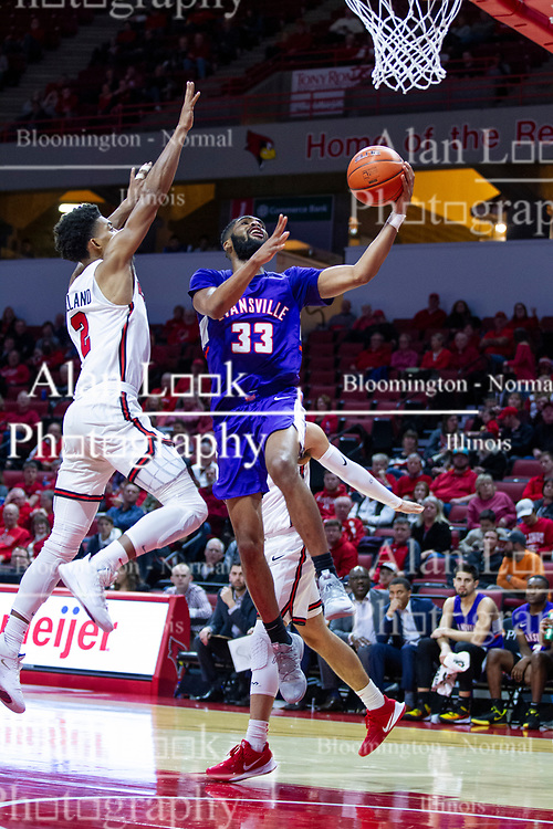 NORMAL, IL - January 29: K.J. Riley beats out Zach Copeland for a lay up during a college basketball game between the ISU Redbirds and the University of Evansville Purple Aces on January 29 2020 at Redbird Arena in Normal, IL. (Photo by Alan Look)