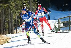 Simon Desthieux (FRA) and Emil Hegle Svendsen (NOR)  during Men 15 km Mass Start at day 4 of IBU Biathlon World Cup 2015/16 Pokljuka, on December 20, 2015 in Rudno polje, Pokljuka, Slovenia. Photo by Vid Ponikvar / Sportida