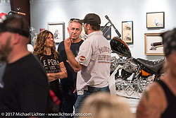 Cory Ness and Chritine Le Pera at the Old Iron - Young Blood exhibition media and industry reception in the Motorcycles as Art gallery at the Buffalo Chip during the annual Sturgis Black Hills Motorcycle Rally. Sturgis, SD. USA. Sunday August 6, 2017. Photography ©2017 Michael Lichter.