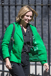 Downing Street, London, July 19th 2016. Home Secretary Amber Rudd leaves the first full cabinet meeting since Prime Minister Theresa May took office.