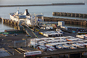 As incoming lorries disembark from the ferry other lorries line up ready for departure inside the Eastern Dock of the Port of Dover is where the cross channel port is situated with ferries departing here to go to Calais in France on the 29th of January 2020, Dover, Kent, United Kingdom. Dover is the nearest port to France with just 34 kilometres (21 miles) between them. It is one of the busiest ports in the world. As well as freight container ships it is also the main port for P&O and DFDS Seaways ferries.  (photo by Andrew Aitchison / In pictures via Getty Images)