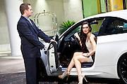 Beautiful Brunette Woman Valet Parking Her Car