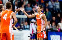 DEN BOSCH -  Jelle Galema heeft voor Nederland gescoord (1-0), tijdens de wedstrijd tussen de mannen van Jong Oranje  en Jong Frankrijk, tijdens het Europees Kampioenschap Hockey -21. ANP KOEN SUYK