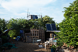 Sipson, UK. 5th June, 2018. Solar panels are used at Grow Heathrow. Grow Heathrow is a squatted off-grid eco-community garden founded in 2010 on a previously derelict site close to Heathrow airport to rally support against government plans for a third runway and it has since made a significant educational and spiritual contribution to life in the Heathrow villages, which remain threatened by Heathrow airport expansion.