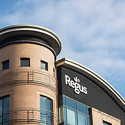 An architectural close up detail of an Regus office space building
