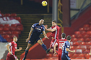 Aberdeen defender Ashton Taylor (14) challenges for the ball during the Scottish Premiership match between Aberdeen and Hamilton Academical FC at Pittodrie Stadium, Aberdeen, Scotland on 20 October 2020.