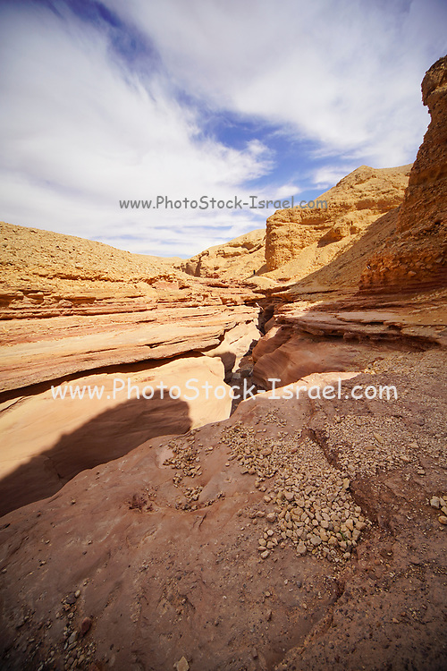 Rock strata visible in the Red Canyon near Eilat, Israel