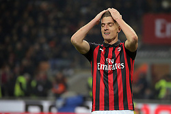 January 26, 2019 - Milan, Milan, Italy - Krzysztof Piatek #19 of AC Milan reacts to a missed chance during the serie A match between AC Milan and SSC Napoli at Stadio Giuseppe Meazza on January 26, 2018 in Milan, Italy. (Credit Image: © Giuseppe Cottini/NurPhoto via ZUMA Press)
