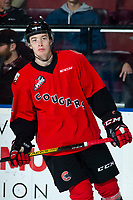 KELOWNA, BC - DECEMBER 30: Ethan Samson #4 of the Prince George Cougars warms up against the Kelowna Rockets  at Prospera Place on December 30, 2019 in Kelowna, Canada. (Photo by Marissa Baecker/Shoot the Breeze)
