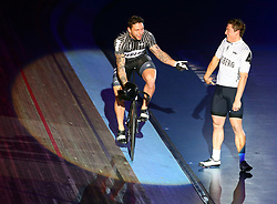 October 26, 2017 - London, England, United Kingdom - L-R Edward Dawkins (NZL) and Ethan Mitchell (NZL) compete in the 200m Flying Time Trial during day three of the London Six Day Race at the  Lee Valley Velopark Velodrome on October 26, 2017 in London, England. (Credit Image: © Kieran Galvin/NurPhoto via ZUMA Press)