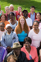 Large multiracial group of people,