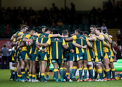 Australia team huddle during the pre match warm up<br /> <br /> Photographer Simon King/Replay Images<br /> <br /> Under Armour Series - Wales v Australia - Saturday 10th November 2018 - Principality Stadium - Cardiff<br /> <br /> World Copyright © Replay Images . All rights reserved. info@replayimages.co.uk - http://replayimages.co.uk