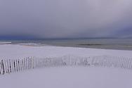 Snow Fence in Snow, Georgica Beach, East Hampton, Long Island, NY