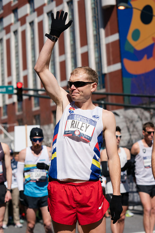 Jacob Riley in introduced during the 2020 U.S. Olympic marathon trials in Atlanta on Saturday, Feb. 20, 2020. Photo by Kevin D. Liles for The New York Times