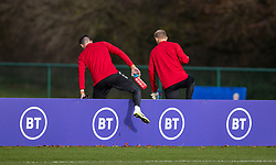 CARDIFF, WALES - Sunday, November 17, 2019: Wales' goalkeepers Tom King (L) and Adam Davies during a training session at the Vale Resort ahead of the final UEFA Euro 2020 Qualifying Group E match against Hungary. (Pic by David Rawcliffe/Propaganda)