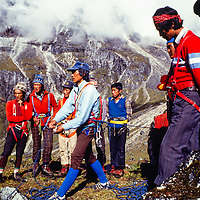 Pertemba Sherpa teaches his colleagues how to belay at an early mountaineering school for sherpas in the Khumbu region of Nepal, 1980.