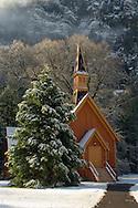 Yosemite Chapel and snow, Yosemite Valley, Yosemite National Park, California