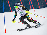 Lillian Arends (U14 Division) competing in the annual Gus Pitou Memorial Slalom with the Gunstock Ski Club on Sunday.  (Karen Bobotas/for the Laconia Daily Sun)