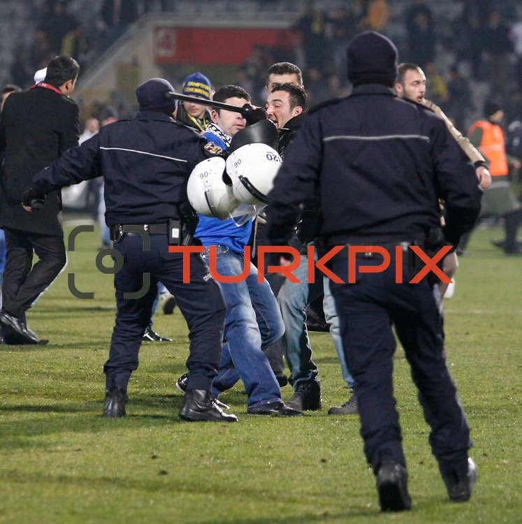 MKE Ankaragucu's supporters during their Turkish Superleague soccer match Ankaragucu between Besiktas at the 19 Mayis stadium in Ankara Turkey on Sunday 08 January 2012. Photo by TURKPIX