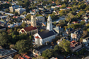 Aerial view of St John's Lutheran Church next to the Unitarian Church Charleston, South Carolina.