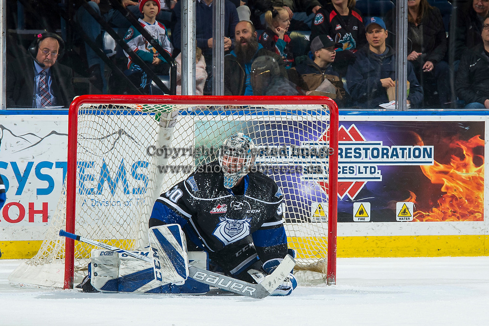 KELOWNA, CANADA - JANUARY 25:  Griffen Outhouse #30 of the Victoria Royals makes a save against the Kelowna Rockets on January 25, 2019 at Prospera Place in Kelowna, British Columbia, Canada.  (Photo by Marissa Baecker/Shoot the Breeze)