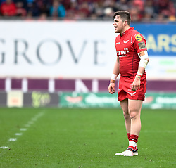 Scarlets' Steff Evans<br /> <br /> Photographer Simon King/Replay Images<br /> <br /> Guinness PRO14 Round 19 - Scarlets v Glasgow Warriors - Saturday 7th April 2018 - Parc Y Scarlets - Llanelli<br /> <br /> World Copyright © Replay Images . All rights reserved. info@replayimages.co.uk - http://replayimages.co.uk