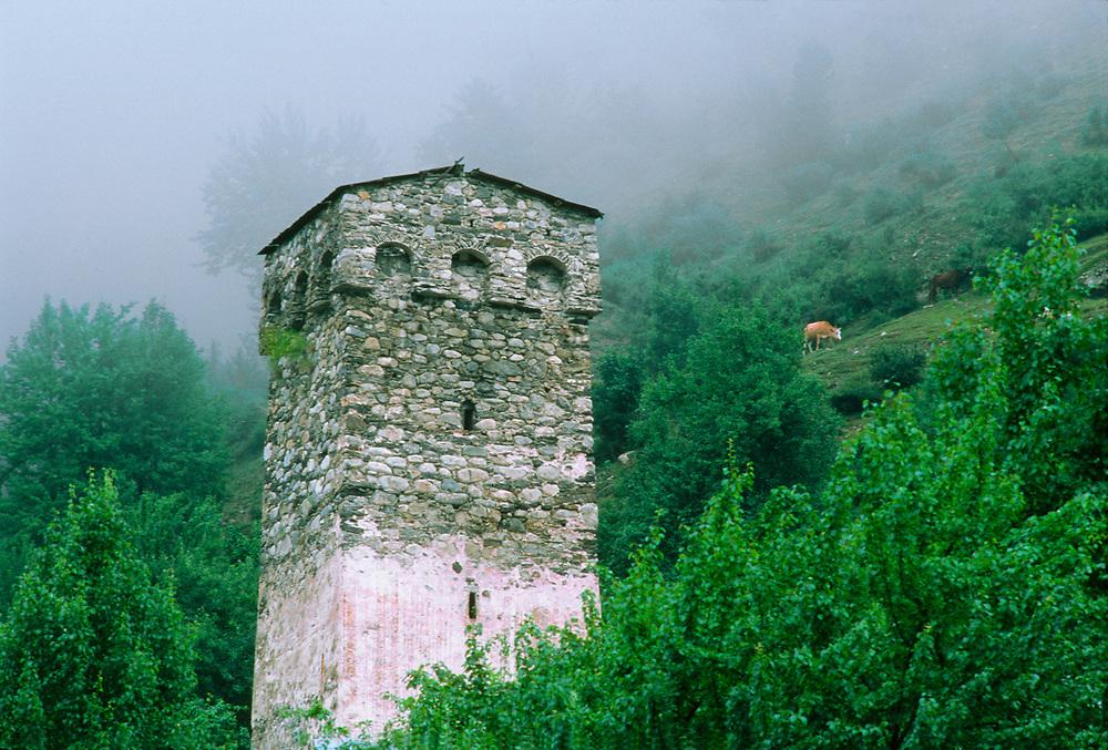 Stone tower, Caucasus Mountains, Mestia, The Country of Georgia