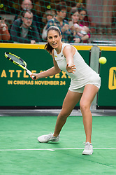EDITORIAL USE ONLY<br /> Great Britain&Otilde;s Johanna Konta plays tennis against former Wimbledon champion Pat Cash to celebrate the release of new tennis movie &Ocirc;Battle of the Sexes&Otilde;, in partnership with cereal bar Nature Valley, at Westfield London in Shepherd&Otilde;s Bush.