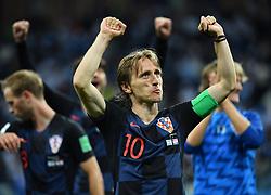NIZHNY NOVGOROD, June 21, 2018  Luka Modric (front) of Croatia celebrates victory after the 2018 FIFA World Cup Group D match between Argentina and Croatia in Nizhny Novgorod, Russia, June 21, 2018. Croatia won 3-0. (Credit Image: © Li Ga/Xinhua via ZUMA Wire)