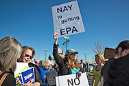 Protesters outside of Sen. Cassidy's town hall meeting in Metairie.,LA at the Eastbank Regional Library Feb. 22, 2017.