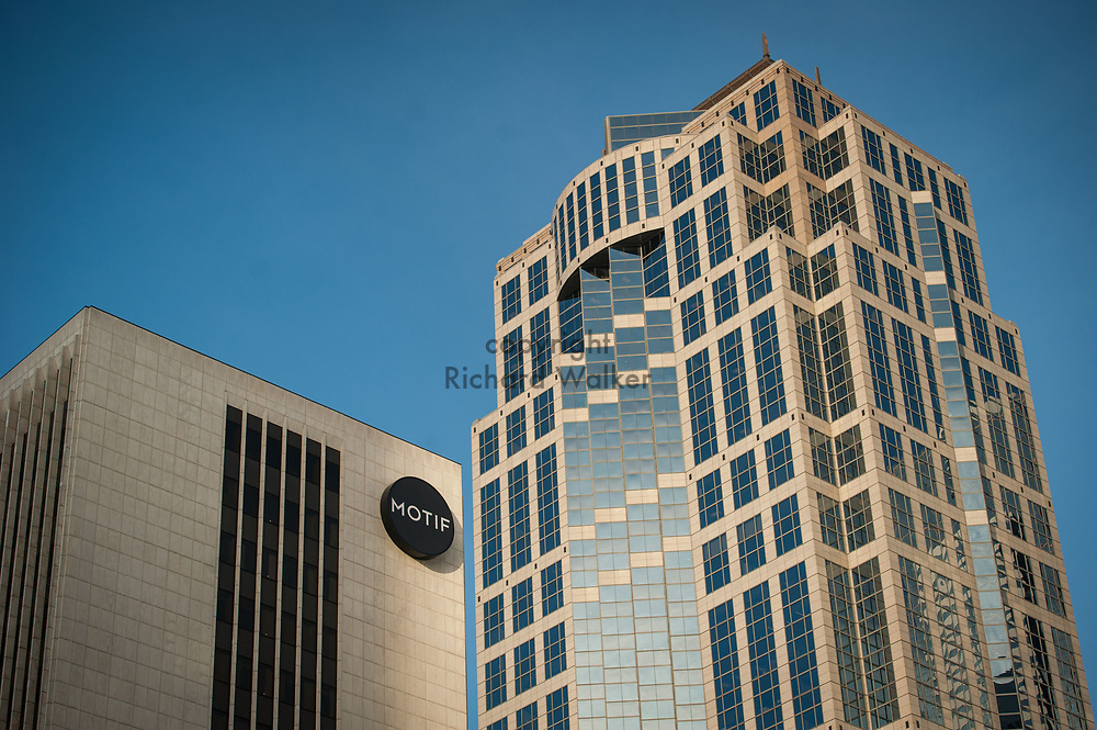 2017 DECEMBER 12 - US Bank Center and Motif Hotel buildings seen from intersection of 4th Ave and Union St., downtown Seattle, WA, USA. By Richard Walker