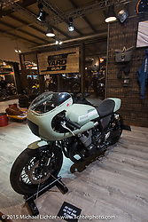 """A """"Faster Sons"""" Yard Built custom created for Yamaha on view at EICMA, the largest international motorcycle exhibition in the world. Milan, Italy. November 19, 2015.  Photography ©2015 Michael Lichter."""