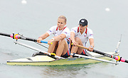 Munich, GERMANY, USA W2- Bow Zsuzsanna FRANCIA and Meghan MUSNICKI, Moves away from the pontoon in the Time trial heat,  Women's pair at the FISA World Cup on the Munich Olympic Rowing Course, Friday  27/05/2011  [Mandatory Credit Peter Spurrier/ Intersport Images]