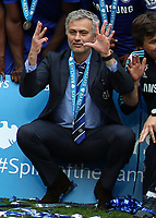 Football - 2014 / 2015 Premier League - Chelsea vs. Sunderland.   <br /> <br /> José Mourinho, Manager, of Chelsea FC shows eight fingers representing the number of league titles he has won in 13 years at Stamford Bridge. <br /> <br /> COLORSPORT/DANIEL BEARHAM
