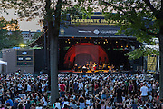 The bandshell area was nearly filled to its capacity of about 6,500 for the José James and Esperanza Spalding concert. On the stage is José James and is band.