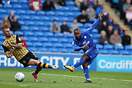 Junior Hoilett of Cardiff city ® has a shot at goal.  EFL Skybet championship match, Cardiff city v Sheffield Wednesday at the Cardiff City Stadium in Cardiff, South Wales on Saturday 16th September 2017.<br /> pic by Andrew Orchard, Andrew Orchard sports photography.