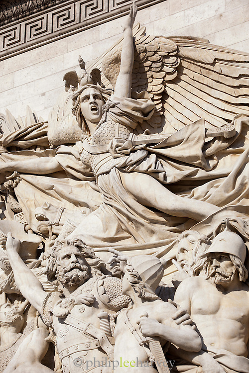 Statues on the Arc de Triomphe in Paris, France