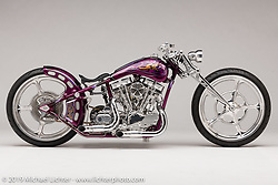 """You won't find much on his bikes that Ken Nagai, Nagoya Japan,  didn't make with his own hands, and the same is true for this bike built around a 93' S&S Shovelhead power-plant that he calls the """"DL"""" or """"Down-Low, which is how he likes to build his customs. He is considered one of the top fabricators in Japan, but beyond his skills, it his style, which is quickly evident on first meeting. Photographed by Michael Lichter in Sturgis, SD. July 30, 2019. ©2019 Michael Lichter"""