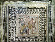 Roman mosaics - Close up of the Dionysus Mosaic. Poseidon Villa Ancient Zeugama, 3rd century AD . Zeugma Mosaic Museum, Gaziantep, Turkey. .<br /> <br /> If you prefer to buy from our ALAMY PHOTO LIBRARY  Collection visit : https://www.alamy.com/portfolio/paul-williams-funkystock/roman-mosaic.html - Type -   Zeugma   - into the LOWER SEARCH WITHIN GALLERY box. Refine search by adding background colour, place, museum etc<br /> <br /> Visit our ROMAN MOSAIC PHOTO COLLECTIONS for more photos to download  as wall art prints https://funkystock.photoshelter.com/gallery-collection/Roman-Mosaics-Art-Pictures-Images/C0000LcfNel7FpLI