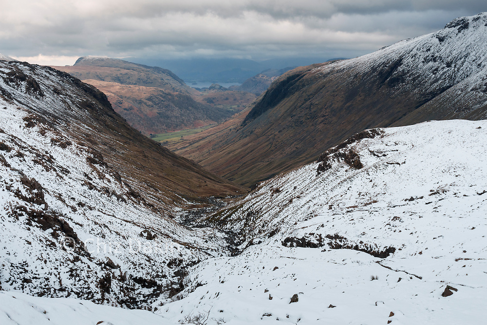 The snowline was about 500m up Borrowdale.