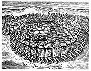 Roman soldiers making a Tortoise with their shields strong enough for chariots to drive over. Reconstruction from Justus Lipsius 'Poliorceticon sive de Machinis Tormentis Telis', Antwerp 1605. Copperplate engraving.