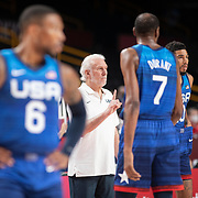 TOKYO, JAPAN - JULY 25:   Gregg Popovich head coach of USA, on the sideline during the USA V France basketball preliminary round match at the Saitama Super Arena at the Tokyo 2020 Summer Olympic Games on July 25, 2021 in Tokyo, Japan. (Photo by Tim Clayton/Corbis via Getty Images)