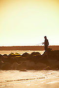 Fishing Off The Jetty At Seal Beach Pier