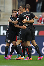 27.09.2014, RheinEnergieStadion, Köln, GER, 1. FBL, 1. FC Köln vs FC Bayern München, 6. Runde, im Bild vl: Sommer-Neuzugang Juan Bernat (FC Bayern Muenchen #18), Torschuetze Mario Goetze (FC Bayern Muenchen #19) und Sommer-Neuzugang Robert Lewandowski (FC Bayern Muenchen #9) beim Torjubel nach dem Treffer zum 1:0 // during the German Bundesliga 6th round match between 1. FC Cologne and FC Bayern Munich at the RheinEnergieStadion in Köln, Germany on 2014/09/27. EXPA Pictures © 2014, PhotoCredit: EXPA/ Eibner-Pressefoto/ Schüler<br /> <br /> *****ATTENTION - OUT of GER*****