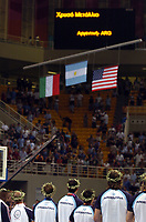 29/08/04 - ATHENS  - GREECE -  - BASKETBALL SEMIFINAL MATCH   - Indoor Olympic Stadium - <br />ARGENTINA win over ITALY and win the GOLD MEDAL<br />Argentine celebration after win the match.<br />Here Ethe FLAG CEREMONY <br />© Gabriel Piko / Argenpress.com / Piko-Press