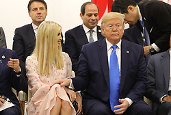 """Ivanka Trump (Advisor to the President of the United States), Donald J. Trump (US President) - Side event organized by the Japanese Prime Minister, on the theme """"Promoting the place of women at work"""" at the Intex Osaka congress center at the G20 summit in Osaka, Japan, on June 29, 2019. Photo by Dominque Jacovides/Pool/ABACAPRESS.COM"""