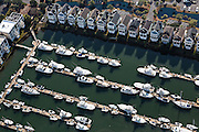 Aerial view of boats at a marina in Sullivan's Island, SC.