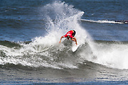 Noe Mar McGonagle of Costa Rica advances to round two after placing second in round one heat 6 of the 2018 Hawaiian Pro at Haleiwa, Oahu, Hawaii, USA.